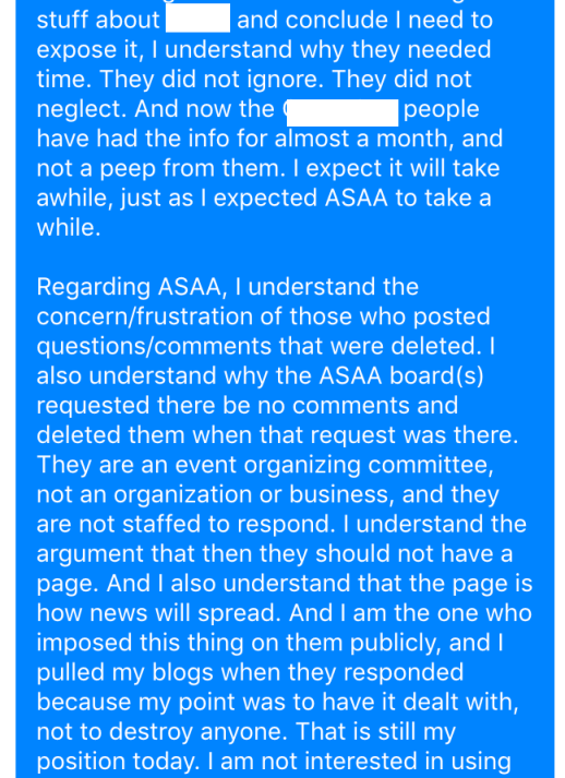 Response RE: Cancelled meeting with ASAA 2